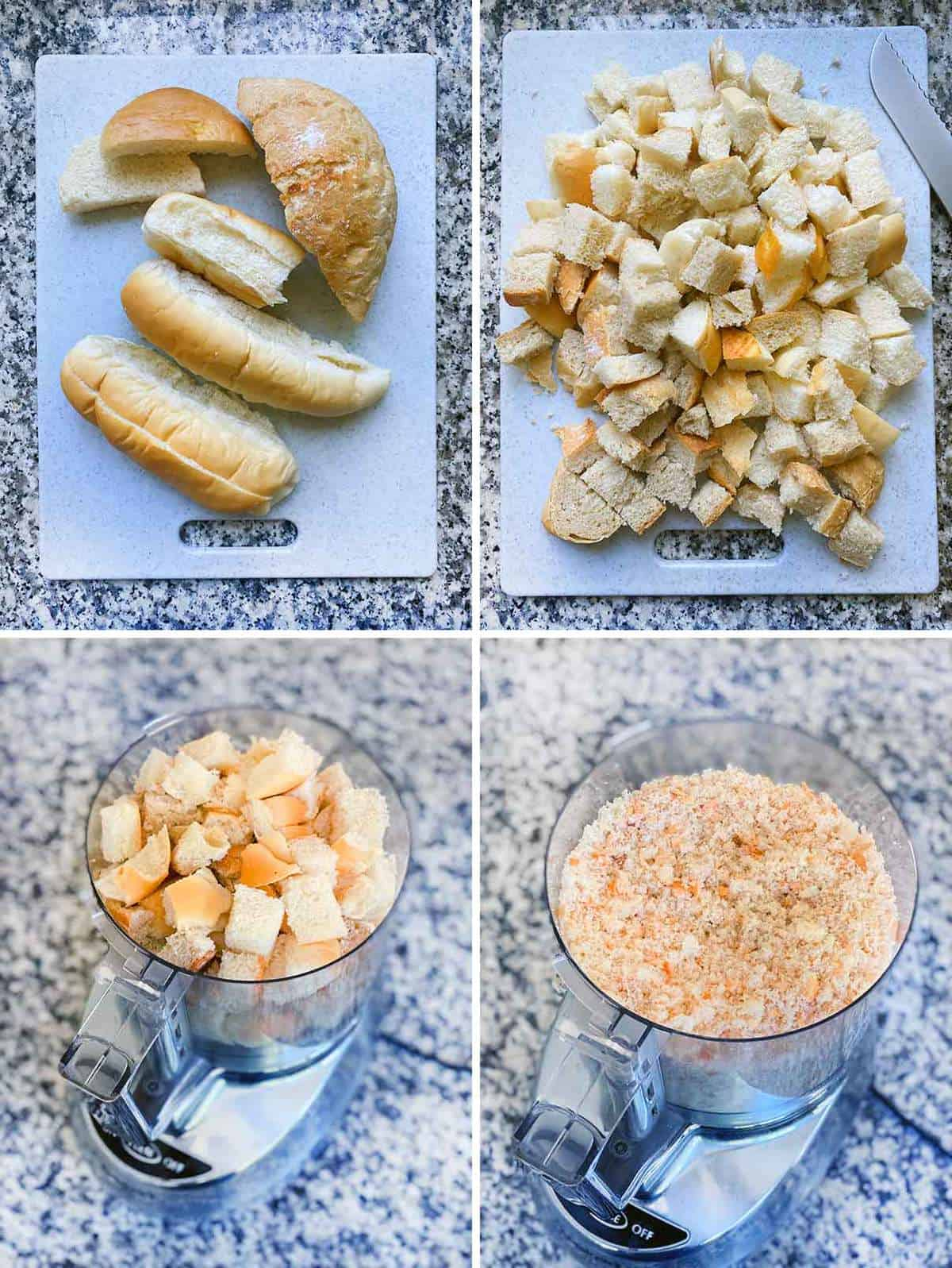 Process collage showing bread cubed then pulsed in the food processor to make bread crumbs.